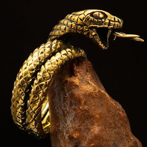 Excellent crafted Men's Reptile Ring Python Snake - Solid Brass - BikeRing4u