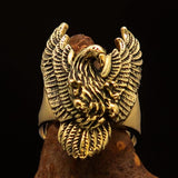 Excellent crafted Men's Eagle Ring spread Wings - Solid Brass - BikeRing4u