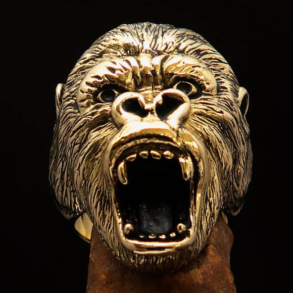 Excellent crafted Men's Ape Ring Roaring Gorilla - Solid Brass - BikeRing4u