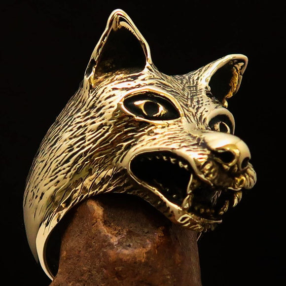 Excellent crafted Men's Animal Ring Wolf's Head - Solid Brass - BikeRing4u