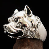 Excellent crafted Men's Biker Ring Pitbull in Chains Sterling Silver 925 - BikeRing4u
