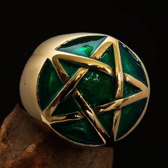 Excellent crafted Men's Pinky Ring domed Green Pentagram - Solid Brass - BikeRing4u
