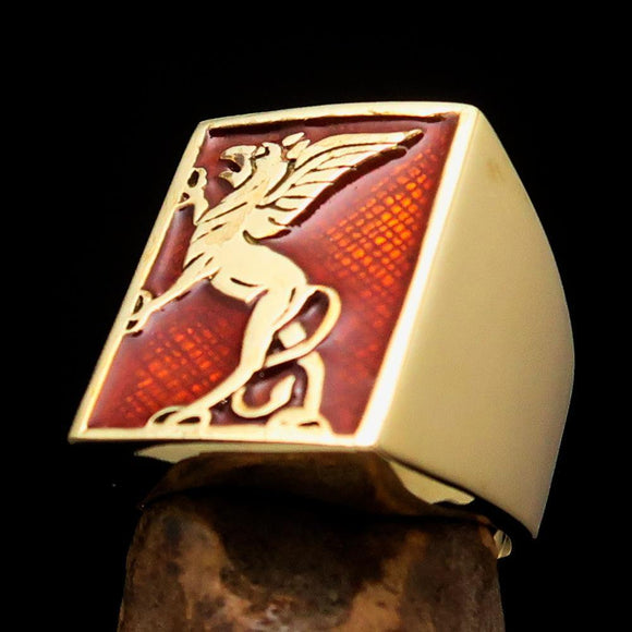 Perfectly crafted Men's Orange Griffin Ring Griffon - Solid Brass - BikeRing4u