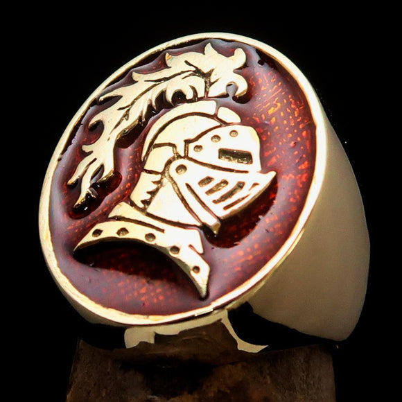 Perfectly crafted Men's Medieval Ring Brave Knight Orange - Solid Brass - BikeRing4u
