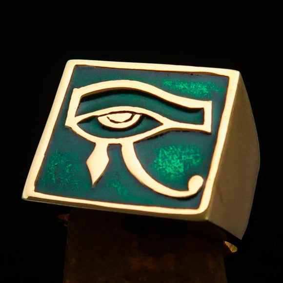 Excellent crafted Men's Ring All seeing Udjat Eye of Ra Green - Solid Brass - BikeRing4u