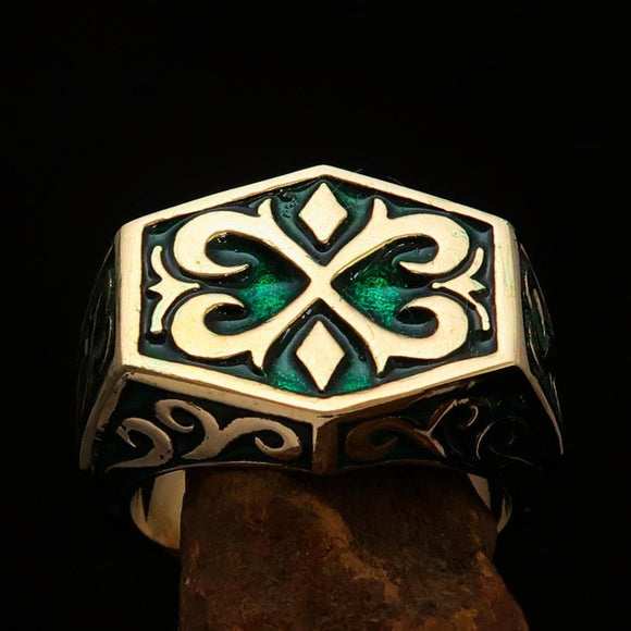 Excellent crafted Men's Medieval Ring Green Oriental Crest Solid Brass - BikeRing4u