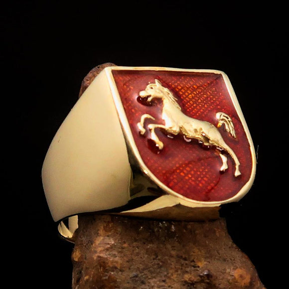Perfectly crafted Men's Ring Horse Coat of Arms Orange - Solid Brass - BikeRing4u