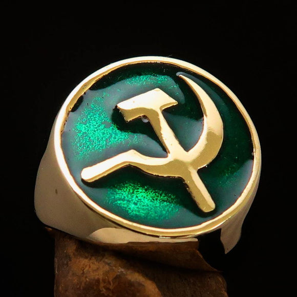 Excellent crafted Men's Socialist Ring Hammer Sickle Green - Solid Brass - BikeRing4u