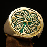 Excellent crafted Men's Signet Ring Four leaved Clover Green - Solid Brass - BikeRing4u