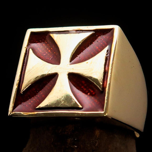 Perfectly crafted Men's Biker Ring Iron Cross Red - Solid Brass - BikeRing4u