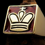 Perfectly crafted Men's Chess Player Ring Orange King's Crown - Solid Brass - BikeRing4u