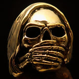 Excellent crafted Men's Grim Reaper Skull Ring Speak No Evil - Solid Brass - BikeRing4u