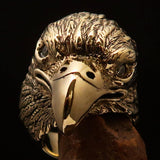 Excellent crafted Men's Biker Ring Eagle Head white CZ - Solid Brass - BikeRing4u