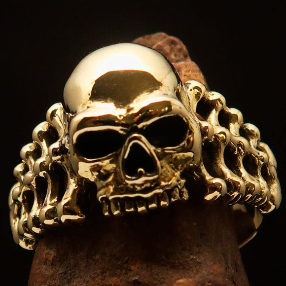 Excellent crafted Men's Biker Ring Skull and Bones - Solid Brass - BikeRing4u