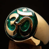 Nicely crafted domed Men's Buddhist Ring Green Aum Symbol - Solid Brass - BikeRing4u