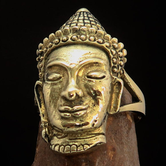 Excellent crafted Brass Buddha Ring ancient Phra Phrom Cambodia - BikeRing4u