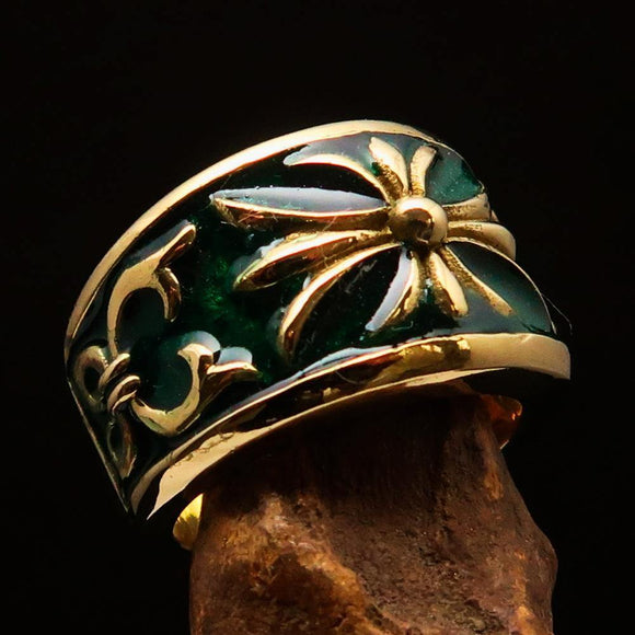Nicely crafted Men's Fleur de Lis Band Ring Green - Solid Brass - BikeRing4u