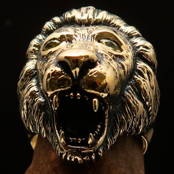 Excellent crafted Men's Animal Ring Male Lion Yellow CZ Eyes - Solid Brass - BikeRing4u