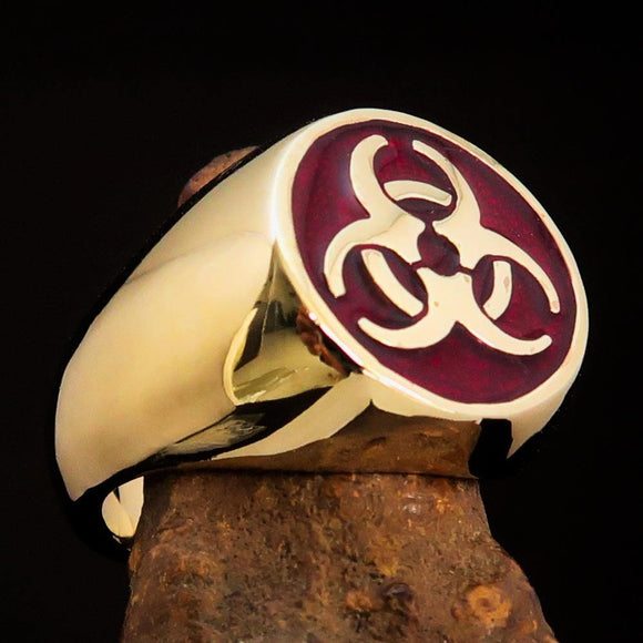 Nicely crafted domed Men's Bio Hazard Ring Red Toxic Waste Symbol - Solid Brass