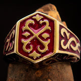 Excellent crafted Men's Celtic Crest Ring Red Enamel - Brass - BikeRing4u