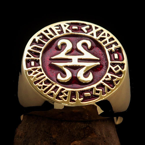 Nicely crafted Men's ancient Viking Runes Ring Red - Solid Brass - BikeRing4u