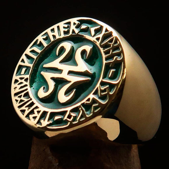 Nicely crafted Men's ancient Viking Runes Ring Green - Solid Brass - BikeRing4u