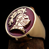 Perfectly crafted Men's Medieval Ring Brave Knight Red - Solid Brass - BikeRing4u