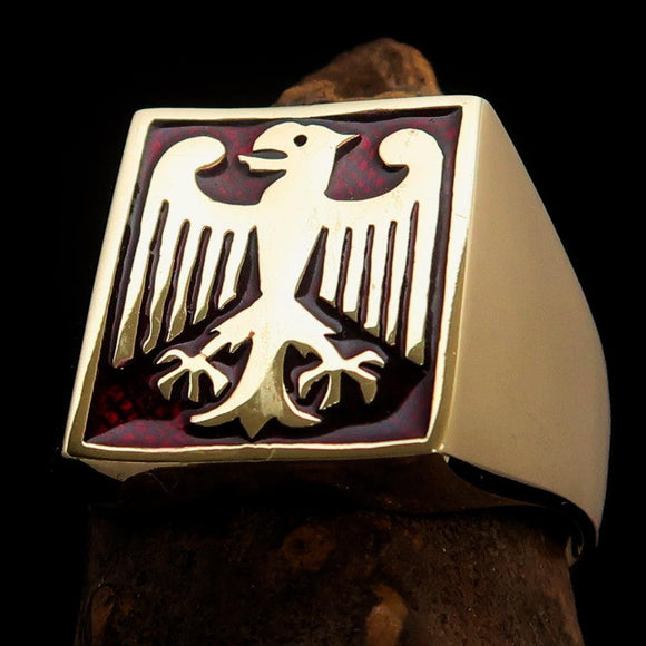 Perfectly crafted Men's German Eagle Seal Ring Red - Solid Brass - BikeRing4u