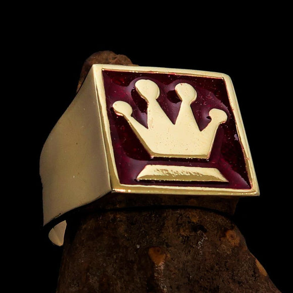 Perfectly crafted Men's Chess Player Ring Queen's Crown Red - Solid Brass - BikeRing4u