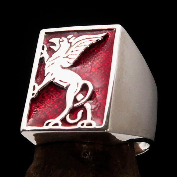 Perfectly crafted Men's Red Griffin Ring Griffon - Sterling Silver - BikeRing4u