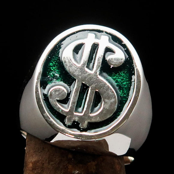 Excellent crafted Men's Currency Ring US Dollar Symbol Green - Sterling Silver - BikeRing4u