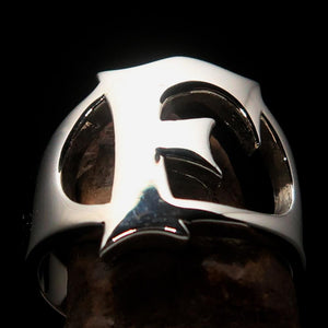Mirror polished Men's Sterling Silver Initial Ring one bold Letter F - BikeRing4u