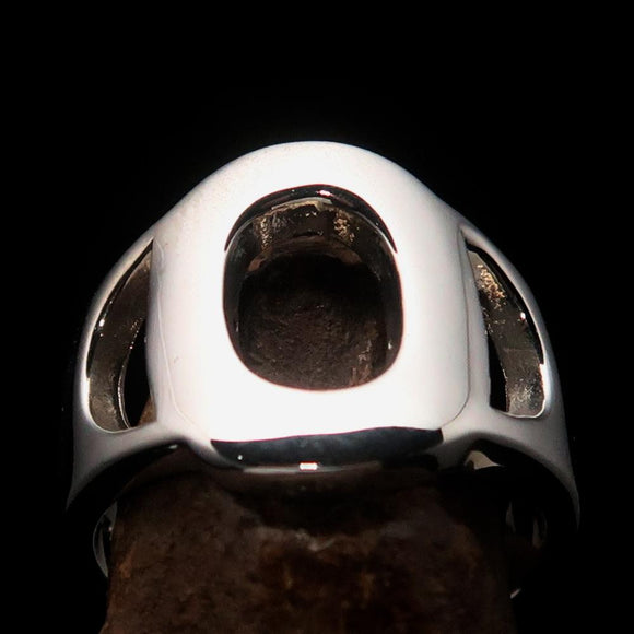 Mirror polished Men's Sterling Silver Initial Ring one bold Letter O - BikeRing4u