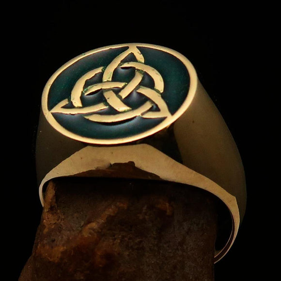 Nicely crafted Men's Triquetra Ring Celtic Triskelion Knot Green - Solid Brass - BikeRing4u