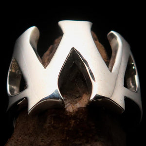 Mirror polished Men's Sterling Silver Initial Ring one bold Letter W - BikeRing4u