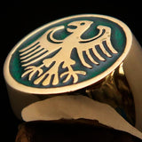 Nicely crafted Men's Seal Ring German Eagle Green - Solid Brass - BikeRing4u