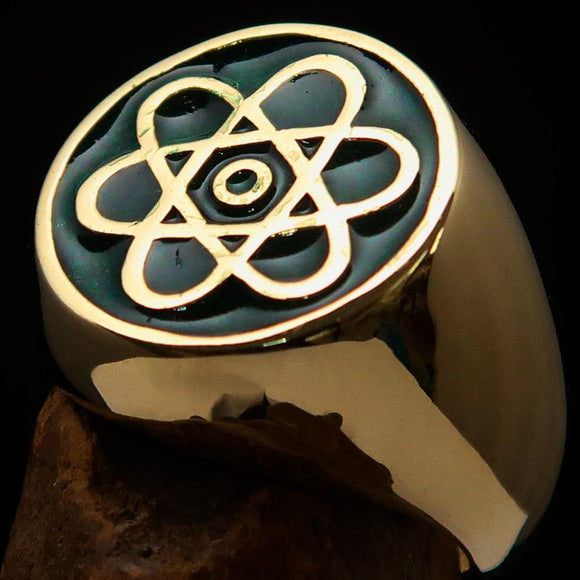 Perfectly crafted Men's Teacher Ring Atom Symbol Green - Solid Brass