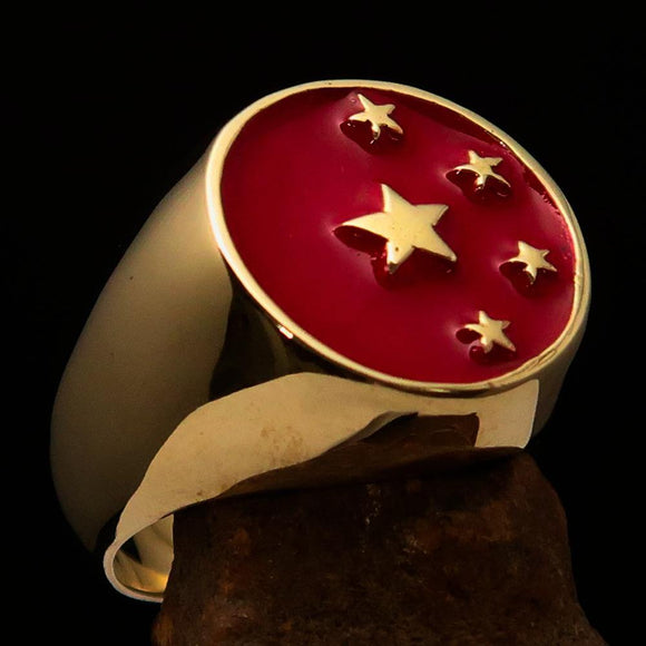 Perfectly crafted Men's Chinese Flag Ring Red - Solid Brass - BikeRing4u