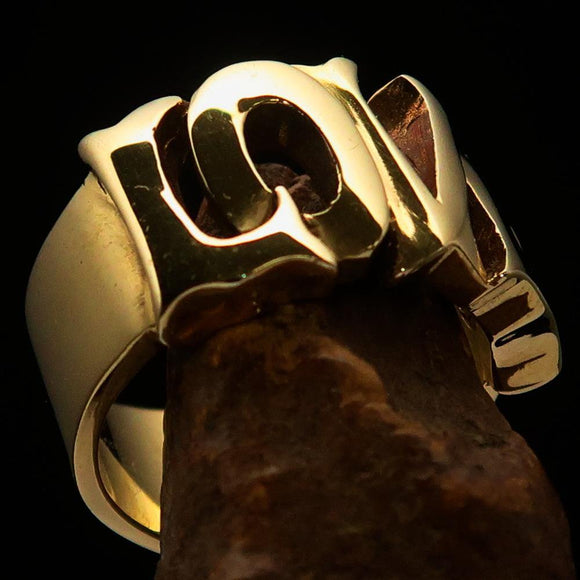 Excellent crafted One Word Love Ring - Solid Brass - BikeRing4u