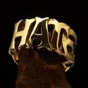 Excellent crafted One Word Hate Ring - Solid Brass - BikeRing4u