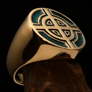 Perfectly crafted Men's Biker Ring Celtic Cross Green - Solid Brass - BikeRing4u