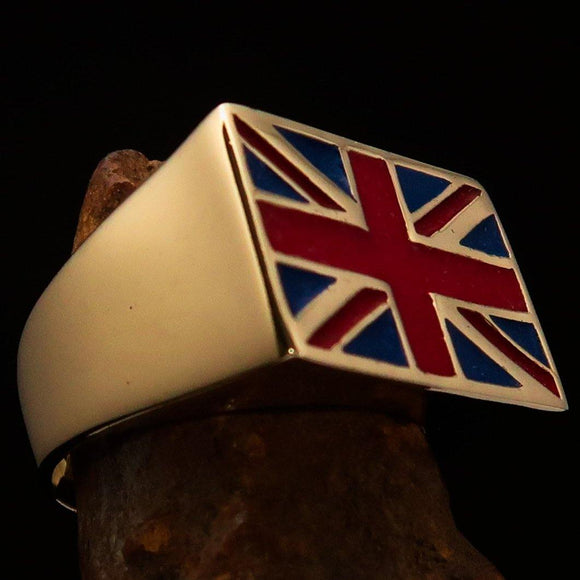 Perfectly crafted Men's Union Jack Flag Ring UK Great Britain - Solid Brass - BikeRing4u