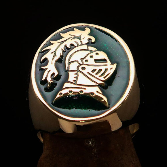 Perfectly crafted Men's Medieval Ring Brave Knight Green - Solid Brass - BikeRing4u
