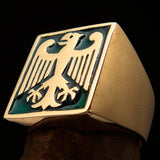 Perfectly crafted Men's German Eagle Seal Ring Green - Solid Brass - BikeRing4u
