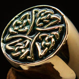 Perfectly crafted Men's Ring Celtic Birgit's Cross Green - Solid Brass - BikeRing4u