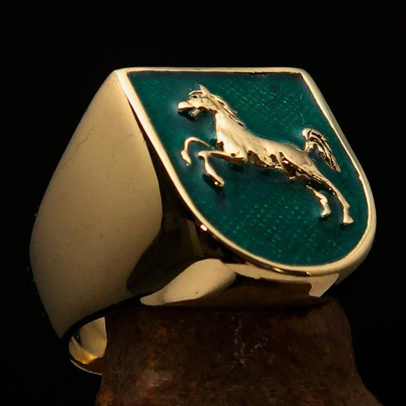 Perfectly crafted Men's Ring Horse Coat of Arms Green - Solid Brass - BikeRing4u
