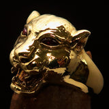Excellent crafted Men's Brass Animal Ring Cougar red CZ Eyes - BikeRing4u