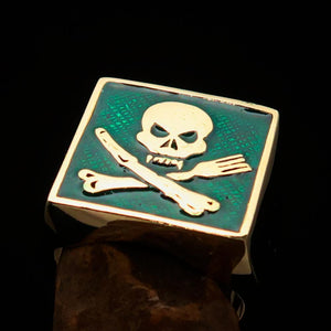 Perfectly crafted Men's Chef Skull Ring Crossed Fork Knife Green - Solid Brass - BikeRing4u