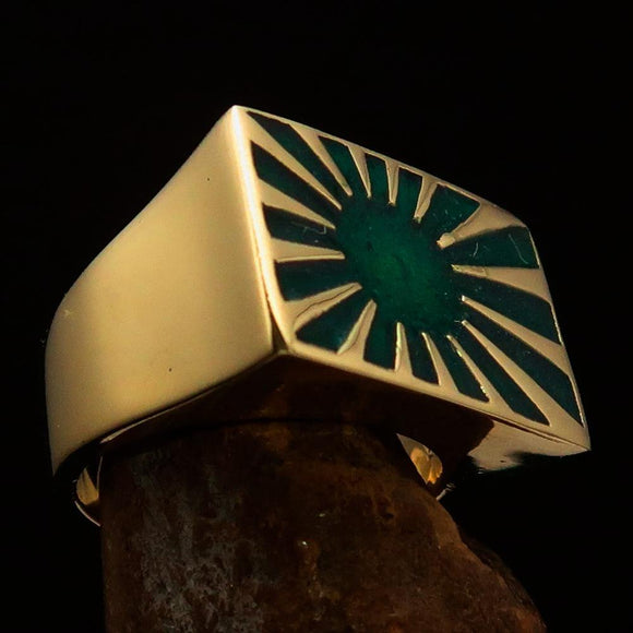 Perfectly crafted Men's Japanese War Flag Ring Green Raising Sun - Solid Brass - BikeRing4u