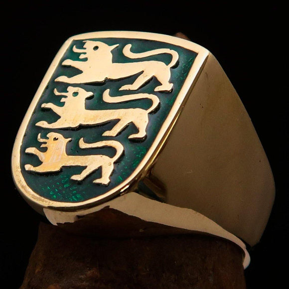 Perfectly crafted Men's Shield Ring 3 Green Lions Coat of Arms - Solid Brass - BikeRing4u